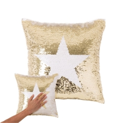 Cojín lentejuelas reversibles estrella blanco oro 40x40