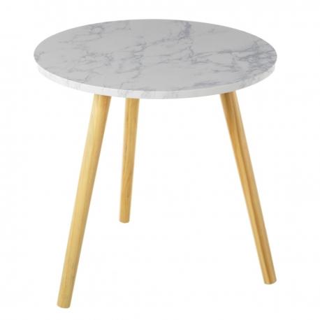 Mesa auxiliar n rdica blanca de madera para sal n fantasy for Mesas de madera para salon