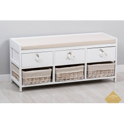 Mueble banqueta descalzador madera minbre 100x35x45 cm