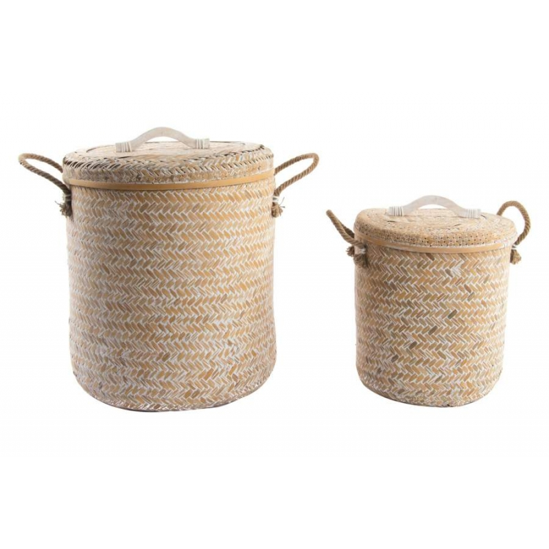 Set 2 cesta multiusos de bambu para dormitorio o ba o for Accesorios bano bambu