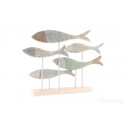 Figura madera pez decape blanco 75x10x52 cm
