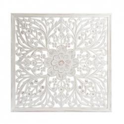 Mural tallada blanco rozado dm étnico 90x90 cm