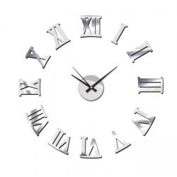 Reloj de pared eva acolchado plata 60x60 cm
