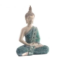 Figura buda de suerte sentado resina turquesa 31 cm decoracion