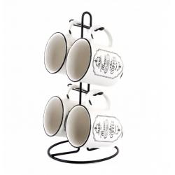 Tazas de cafe ceramica con soporte paris